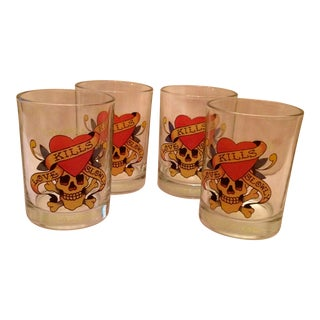 "Ed Hardy ""Love Kills Slowly"" Lo-Ball Glasses - Set of 4 For Sale"