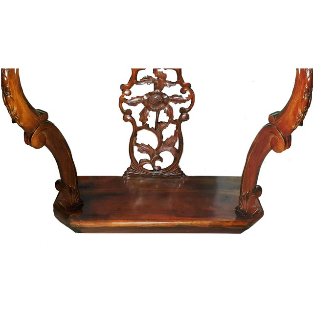 2000 - 2009 Mahogany Hollywood Regency Style Demi-Lune Entrance Table For Sale - Image 5 of 6