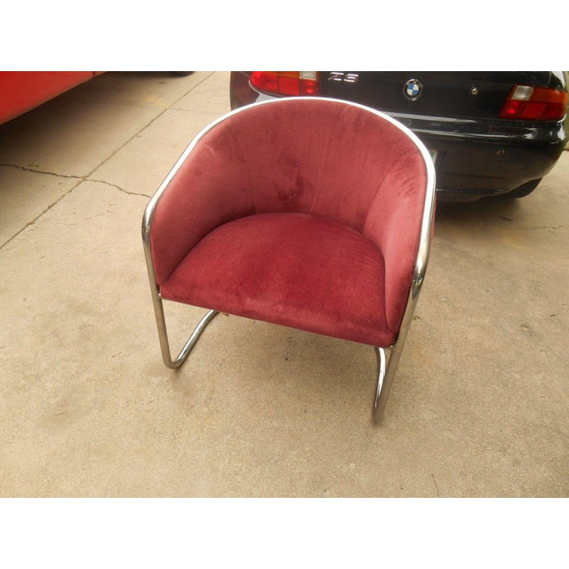 Mid-Century Thonet Cantilever Barrel Chair For Sale - Image 6 of 8