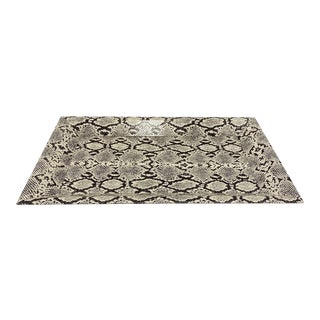 Vintage Organic Modern Faux Python Leather Tray in Ivory and Black, C. 2010 For Sale