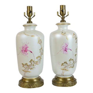 Hand Painted Table Lamps - A Pair For Sale