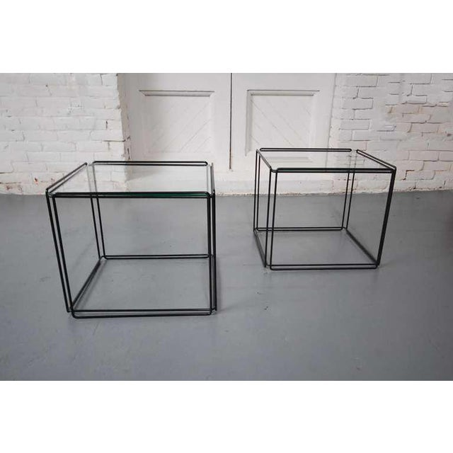 Pair of minimalist tables by French artist Max Sauze, circa 1968. Constructed of black enameled steel and glass. LUNA...
