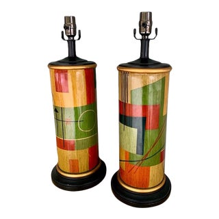 1970s Mid Century Hand Painted Memphis Table Lamps - a Pair For Sale