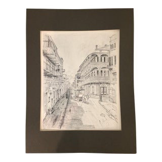 "Vintage Sketch by Archie Boyd ""Arch"" of Royal Street, New Orleans"