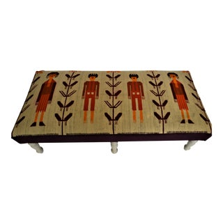 Vintage Wool Rug Covered Custom Bench For Sale