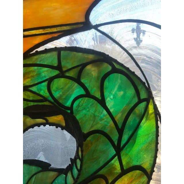 Turquoise Dragon Stained Glass Panel Artist Signed With Wood Frame For Sale - Image 8 of 11