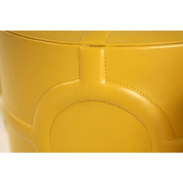 Contemporary Mustard Yellow Leather Drum Table For Sale - Image 3 of 7