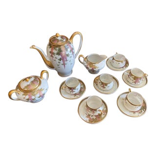 Vintage Porcelain Japanese Satsuma Hand Painted Tea Set - Set of 15 For Sale