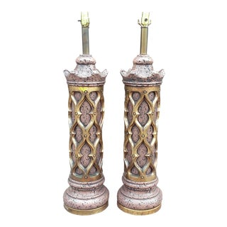 Gothic Revival Tall Plaster Table Lamps-A Pair For Sale