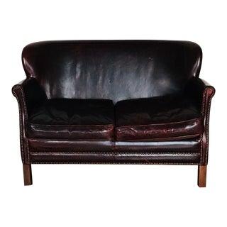 Bespoke Restoration Hardware Oxblood Leather Loveseat