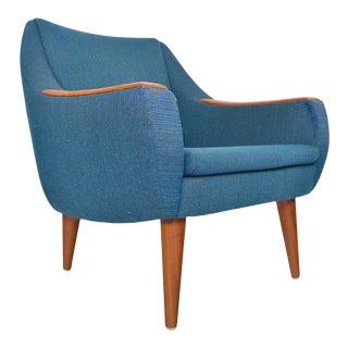 Danish Modern Teak Lounge Chair in Blue Wool For Sale