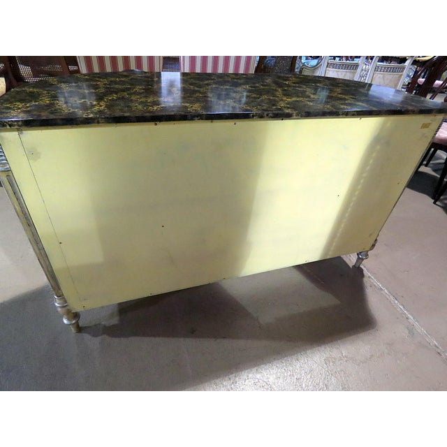 Wood Maitland Smith Faux Marble Top Commode For Sale - Image 7 of 13