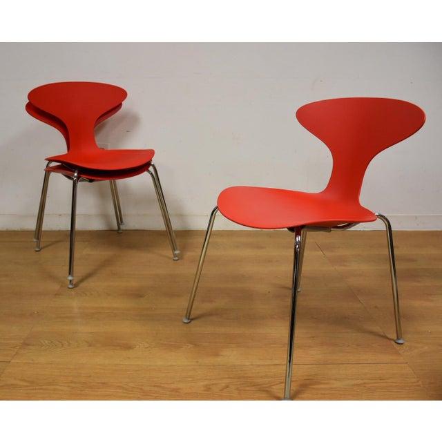 Mid-Century Modern Bernhardt Modern Red Chrome Desk Chair For Sale - Image 3 of 9