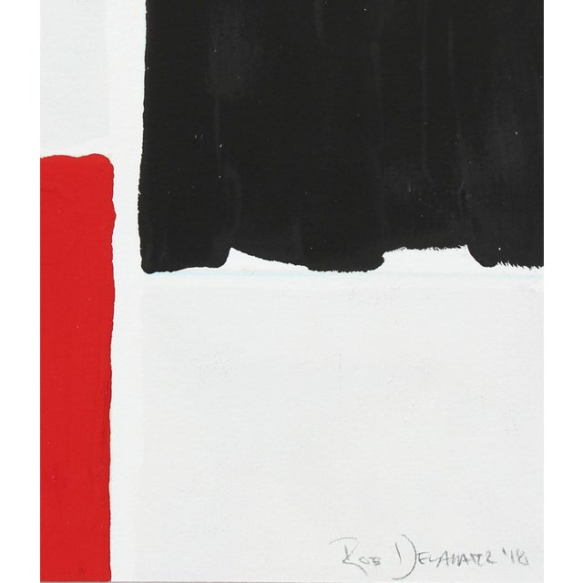 """Entitled """"Black and Red I"""" this 2018 abstracted gouache on paper is by San Francisco artist and Lost Art Salon co-owner..."""