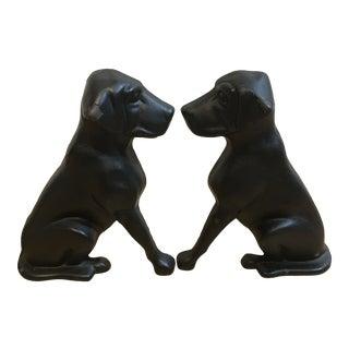 1950s Cast Iron Labrador Andirons - a Pair For Sale