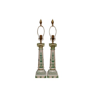 French Empire Porcelain Table Lamps by Wildwood - a Pair For Sale