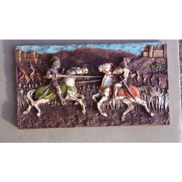 Mid-Century Modern Medieval Roman 1960's J. Segura Wall Sculpture Knight Joust Lances Renaissance Middle Ages For Sale - Image 3 of 10