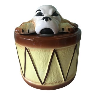 Playful Dog Atop Drum Cookie Jar Sierra Vista by California Pottery For Sale
