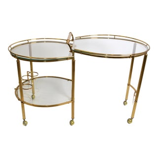 Mid-Century Modern Brass & Glass Extendable Two Table Bar Cart Trolley Italy 60s For Sale