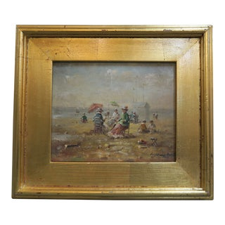 Original Painting on Board of Beach Scene For Sale