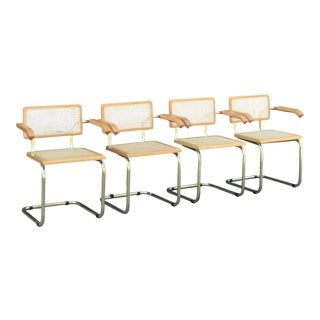 Set of Four Vintage Cesca Chairs With Arms
