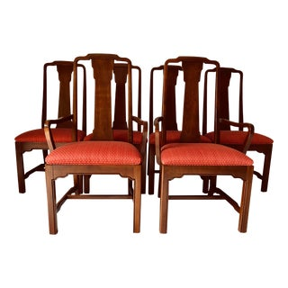 Ethan Allen Mahogany Dining Chairs S-6 Chippendale For Sale