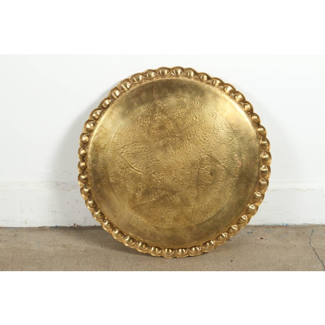 Anglo-Indian Vintage Moroccan Etched Brass Round Tray Table For Sale - Image 3 of 6