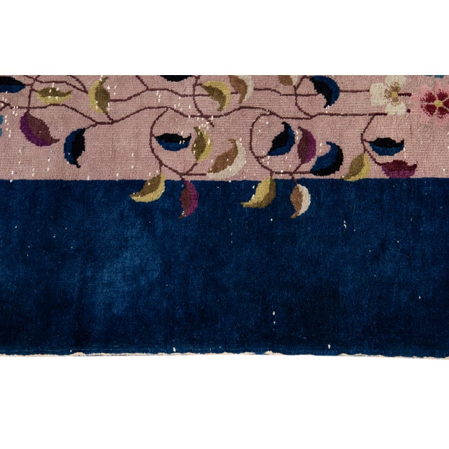 Antique Rose Chinese Art Deco Wool Rug 8 Ft 9 in X 11 Ft 8 In. For Sale - Image 10 of 12