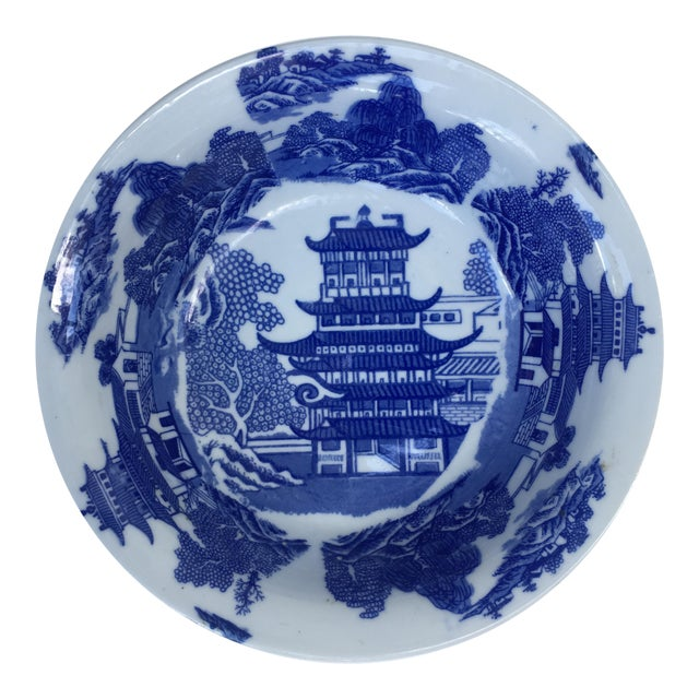 Victoria Ware Ironstone Blue Willow Serving Bowl For Sale