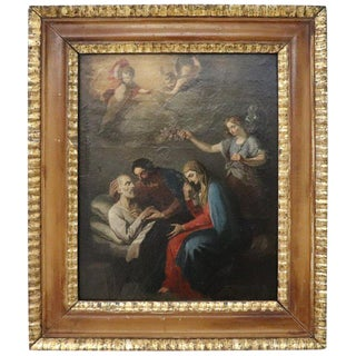 18th Century Italian Oil Painting on Canvas Death of Saint Joseph For Sale