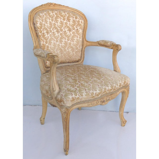 French Antique Louis XV Style Provincial Velvet Fauteuil Armchairs- a Pair For Sale - Image 3 of 13