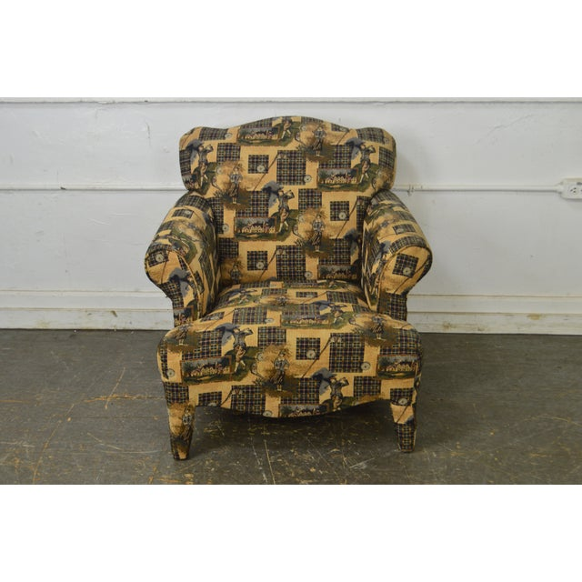 Custom Upholstered Golf Print Club Lounge Chair with Ottoman For Sale - Image 9 of 13