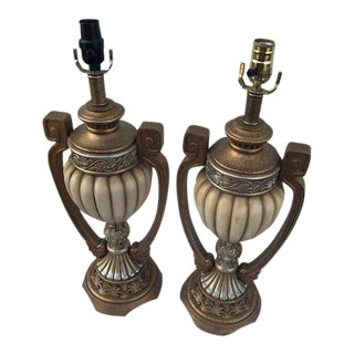 Ceramic Beige Table Lamps - A Pair For Sale