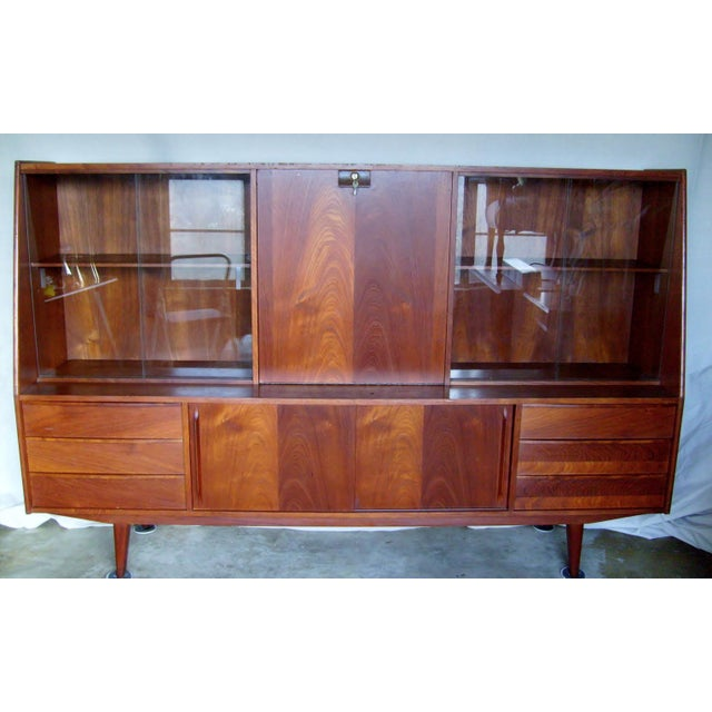 7 Ft. Mid-Century Danish Modern Teak Credenza Dry Bar Hutch For Sale - Image 12 of 12