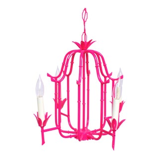 (Final Markdown) Palm Beach Regency Faux Bamboo Lacquered Tole Chandelier For Sale