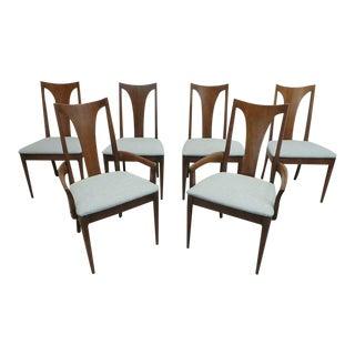Mid Century Modern Broyhill Brasilia Sculptura Walnut & Silver Grey Tweed Dining Chairs- Set of 6 For Sale
