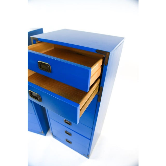 Mid 20th Century Mid Century Campaign Style Blue Tall Chests of Drawers-a Pair For Sale - Image 5 of 13