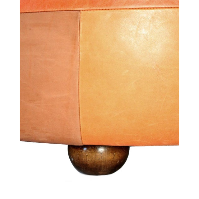 2000 - 2009 Oversized Vintage Patchwork Leather Ottoman For Sale - Image 5 of 6