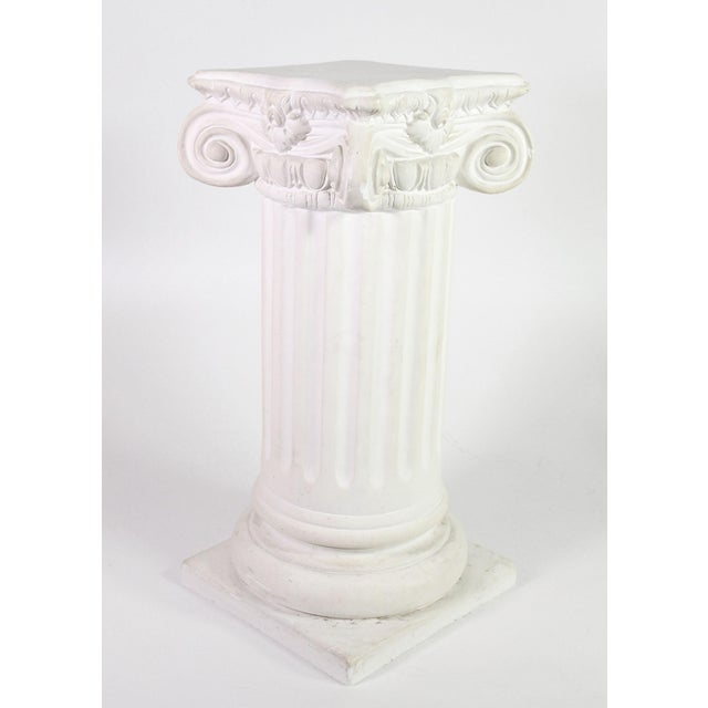 White 1960s White Plaster Romanesque Ionic Scroll Column Display Pedestal For Sale - Image 8 of 8