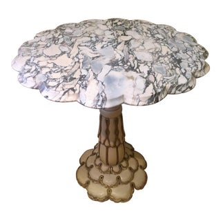 1940's Italian Marble Flower Form Pedestal Accent Table For Sale