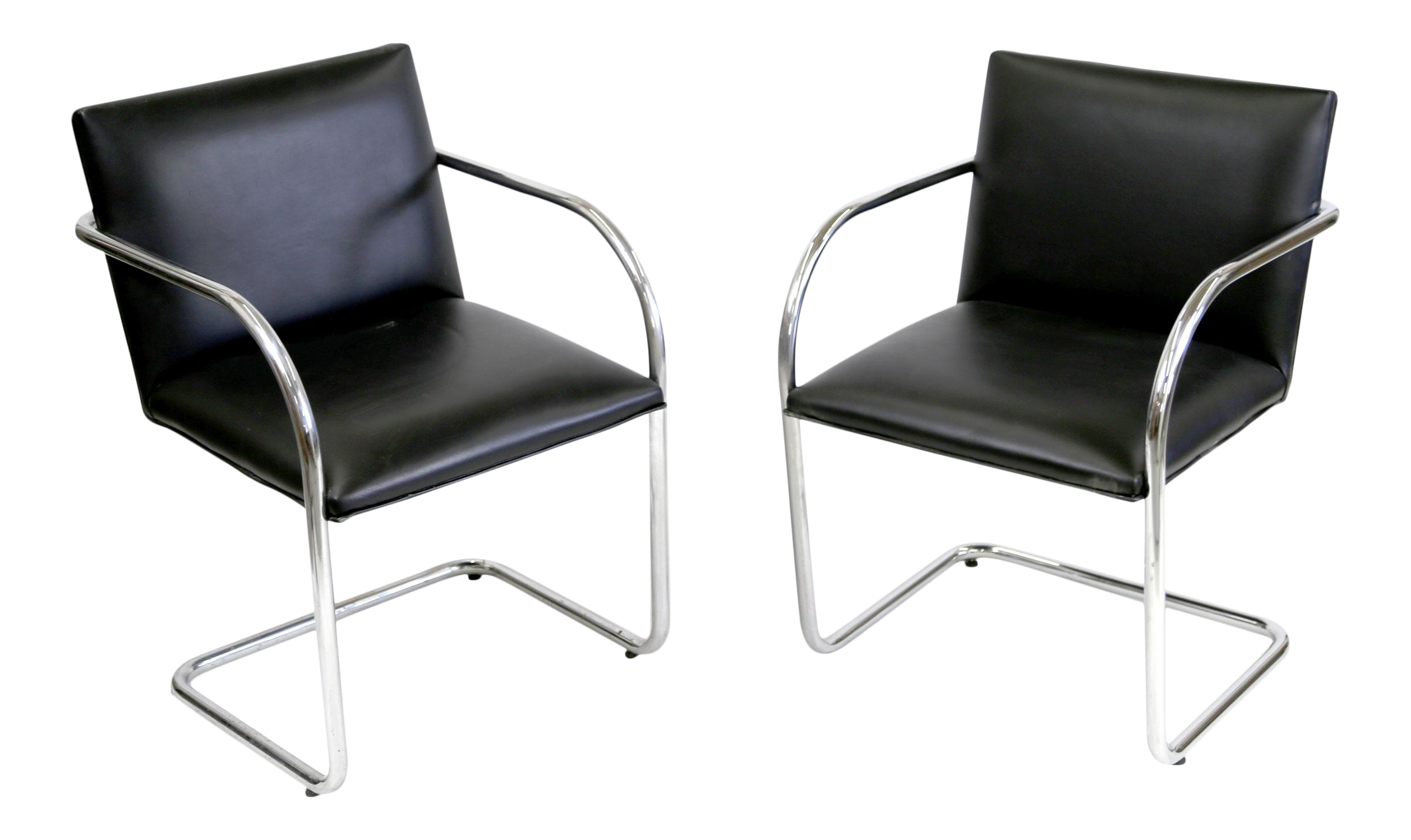 Replica Bauhaus Cantilever  Brno  Black Leather Chairs by Mies Van Der Rohe- A  sc 1 st  Chairish & Replica Bauhaus Cantilever