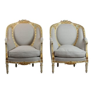 Louis XVI Style Linen Upholstered Club Chairs - a Pair For Sale