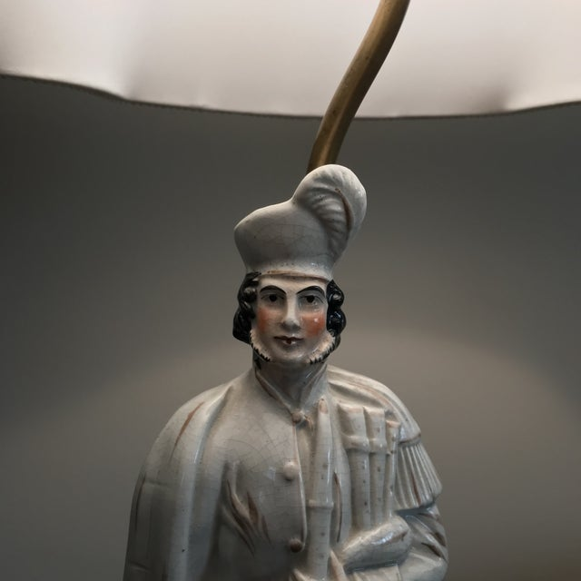 19th Century Antique Staffordshire Figure Bagpiper/Dog Lamp With Shade For Sale - Image 5 of 12