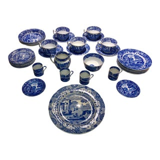 Copelands of England Spode's Blue Italian Plateware - 40 Pieces For Sale