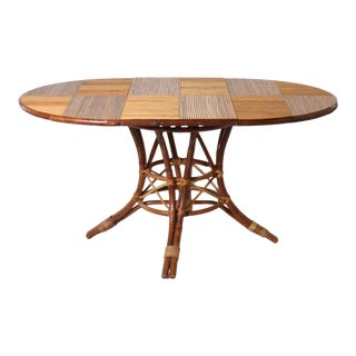 French Bamboo Round Table With Leaf, C. 1960 For Sale