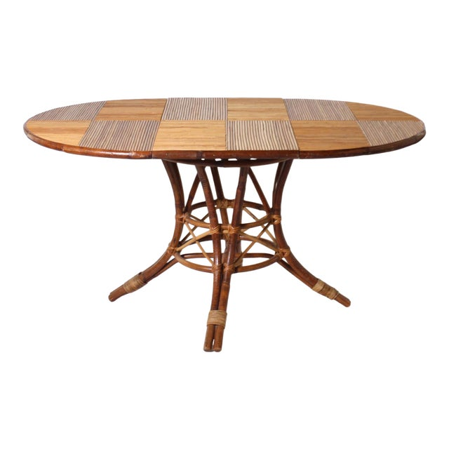 French Bamboo Round Table With Leaf C. 1960 For Sale