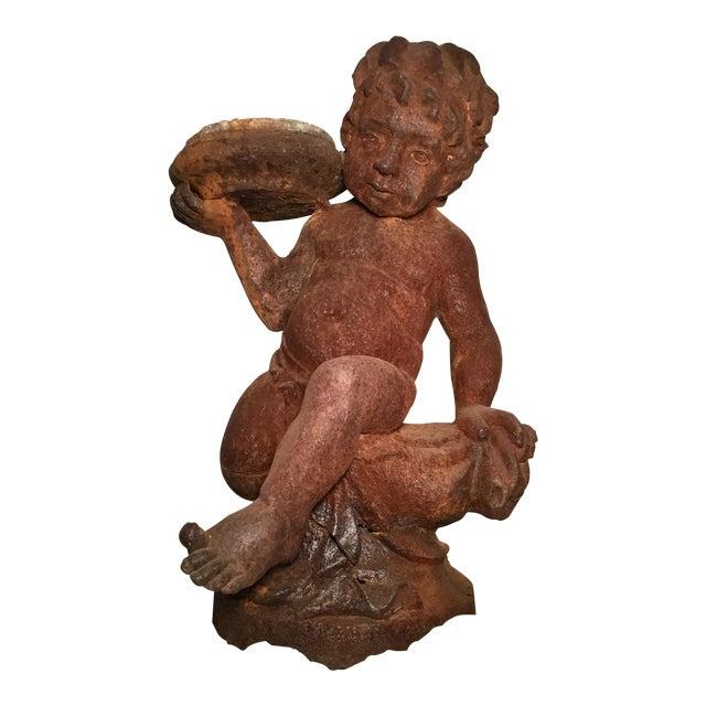 19th Century Victorian Cast Iron Cherub // Statue / Planter / For Sale