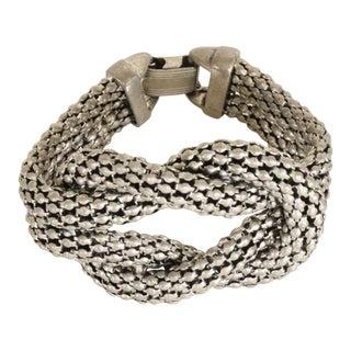 Art Deco Period Sculptural Aluminum Braided Bracelet For Sale
