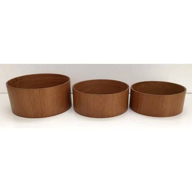 "Danish Modern set of 3 cylinder nesting snack bowls. Potato Chip bowl is 6.25""wide x 2.75""deep, Pretzel bowl is 5.75""wide..."
