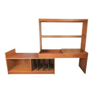 Vintage Mid-Century Modern Danish Walnut Sliding Wall Unit / Bookshelf For Sale